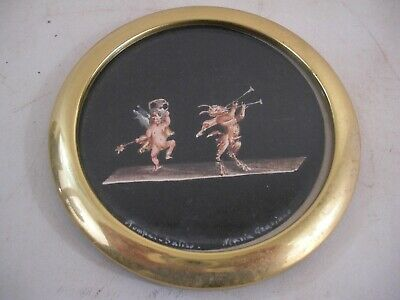 Italian Painting Putti Cherub w/ Musical Pan Brass Frame Italy Grand Tour Style