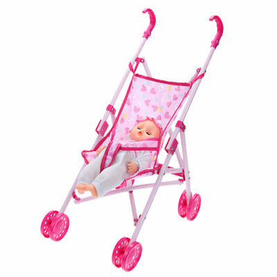 Baby Buggy Stroller Toy Girl Child Gift Foldable Pushchair Pram Kid Trolley+Doll
