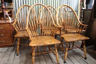A Rare Set of 8 Vintage Kitchen Oak Spindle Back Arm Chairs - Carvers