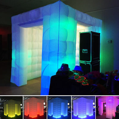 110V/220V Portable Inflatable Cube Photo Booth Two Door Tent with LED Light