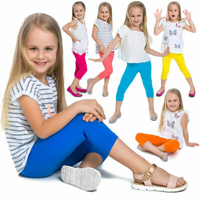 Girls KIDS Plain Leggings Trousers 3/4 capri length Stretch plain Legging
