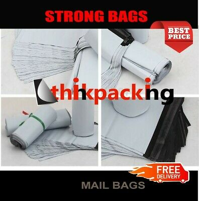 Premium Strong WHITE Virgin Plastic Mailing Postal Poly Pack Postage Grey Bags