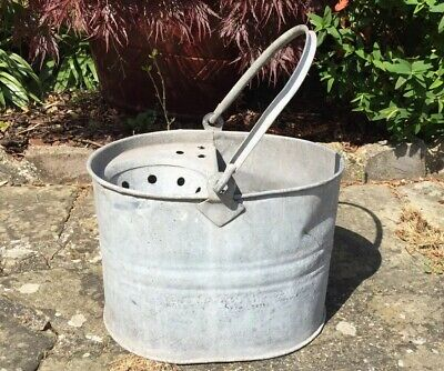 Vintage Galvanised Mop Bucket Planter Agricultural Upcycling  Watertight