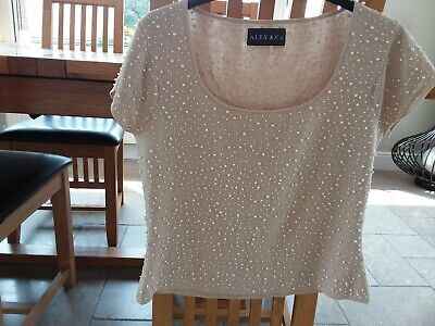 b94fa5f6866 Alex And Co Ladies Summer Top Beige Size 14 With Beads All Over Good  Condition