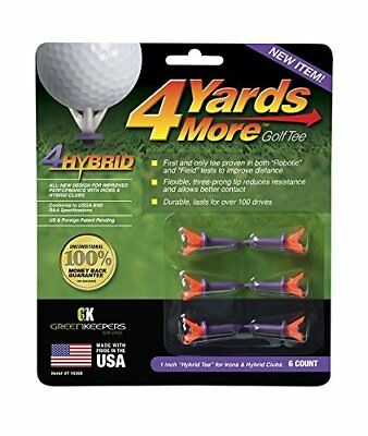 "4 Yards More Golf Tees 1"" - Purple - 1 Pack of 6 Tees , Hybrid Tees"