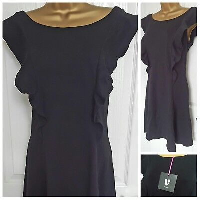 VERY Front Short Dress Ruffle Dresses Frill Ponte Dress Plus Size 22 RRP £34