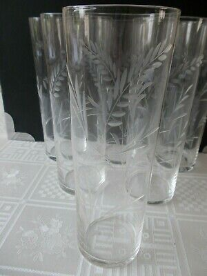 vintage retro 6 x  etched highball tumblers