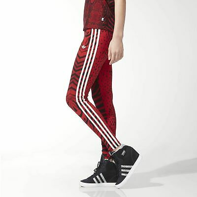 e0ed6bcf0acea adidas Originals Womens Red Clash 3 Stripe Trefoil Tight Leggings | AC2111