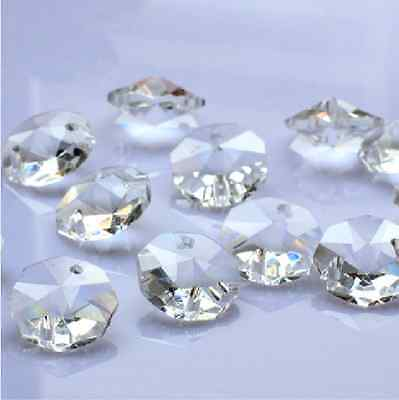 100- 14Mm 2 Hole Clear Octagon Crystal Glass Beads Chandelier Lamp Light Part