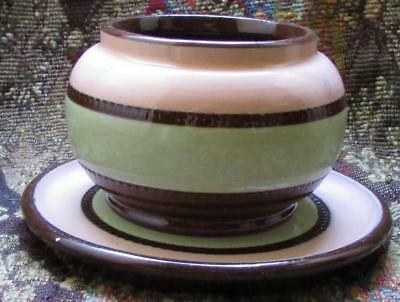 Art Deco 1930s SADLER Brown Betty Pottery Sugar Bowl & Plate Brown Green Pink