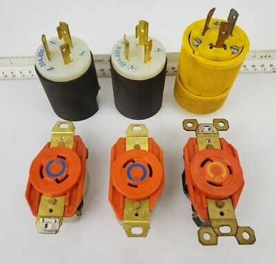 Hubbell receptacle plug lot - IG2310 twist lock 20A 250V General electric cord