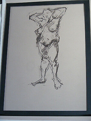 Figure life drawing nude expressive, charcoal/paper woman standing, A1/A2 size @