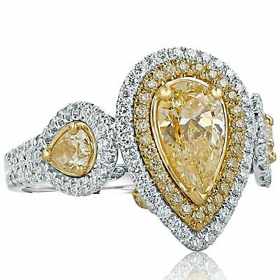 44ca524eb9b0b0 GIA Certified Pear Shaped 2.25 Ct Yellow Diamond Engagement Ring 18k White  Gold