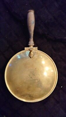 Rare Antique Vintage Royal Crest Copper BRASS BED WARMER wood handle