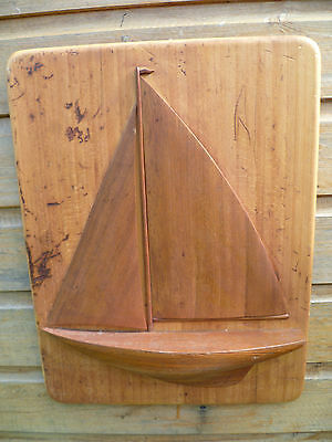Vintage French Hand Made Wooden Wall Plaque,  Of A Single Masted Yacht. Sailing