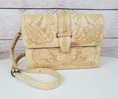 Genuine Leather Carved Floral Aztec Mayan FLAW Hand Tooled Crossbody Bag