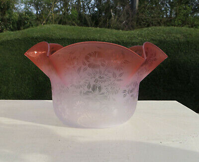 """Antique Victorian Etched Cranberry Glass Oil/Gas Lamp Shade/Globe, 4 1/4"""" fitter"""