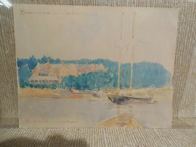 Carlton T. Chapman Listed Artist Signed Watercolor Harbor Scene Seascape Katrina