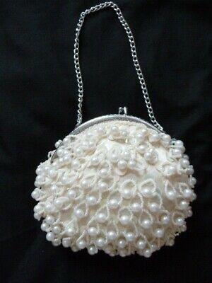 Vintage 'Rubella' Pearl / Sequin / Beaded Ivory Brides Evening Purse / Bag