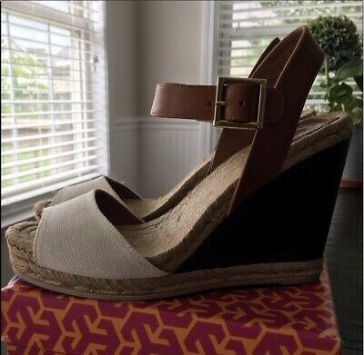 e83a4f4a53c Tory Burch Ivory Brown Canvas Leather Wood Wedge Espadrille Sandals Shoes  size 7