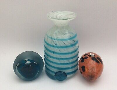 3 Pieces Of Mdina Glass - 2 Paperweights & A Blue & White Striped Vase