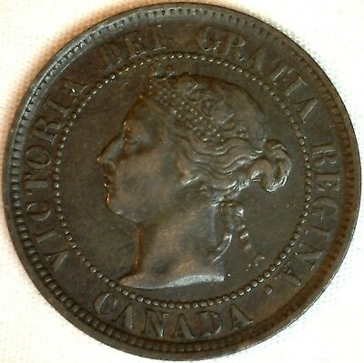 1884 Copper Canadian Large Cent One Cent Coin Very Fine #28
