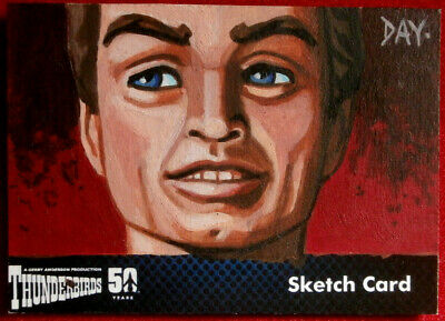 THUNDERBIRDS 50 YEARS - UNIQUE SKETCH CARD by Welsh Artist DAVID DAY - 2015