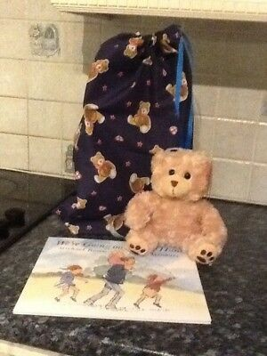 We're Going On A Bear Hunt Story Sack - With Book, Bear & raw string fabric bag.