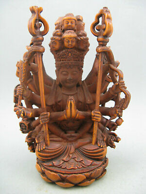 Antique Chinese old Boxwood Hand carved Thousand Hands KwanYin Rare Statue