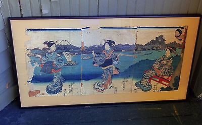 Japanese Triptych Late 1700s to Mid 1800s Woodblock Prints Professional Framing