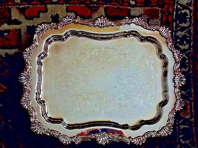 """Rogers Ornate Silver Footed Tray Heavy Quality Very Good Condition 11"""" x 14"""""""