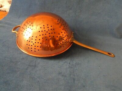 Vintage Large Copper Kitchen Strainer / Colander / Drainer