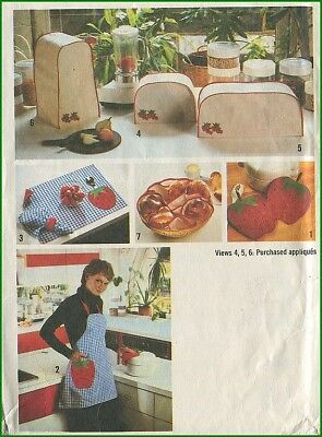 1970s Vintage Strawberry Kitchen Appliance Covers Apron Hot Pad Sewing Pattern