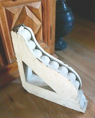 "Antique 21.5"" Large Architectural Salvage Wooden Corbel Chippy White Paint"