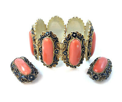 Antique Chinese Gold Washed Coral Cabochon Matched Set Bracelet Earrings Marked