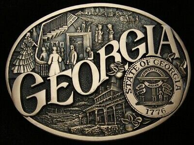 QE05165 *NOS* VINTAGE 1980s **GEORGIA** STATE COMMEMORATIVE SOLID BRASS BUCKLE