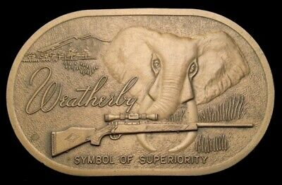 Qk28186 Awesome Vintage ***Weatherby*** Big Game Rifle Solid Brass Buckle
