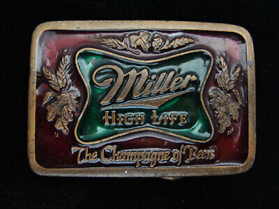 QG15130 VINTAGE 1970s **MILLER HIGH LIFE THE CHAMPAGNE OF BEERS** BELT BUCKLE