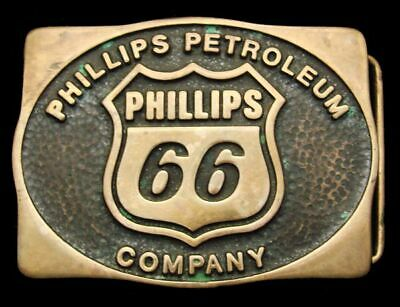 Qe12143 Great 1983 **Phillips 66 Petroleum Company** Solid Brass Oilfield Buckle