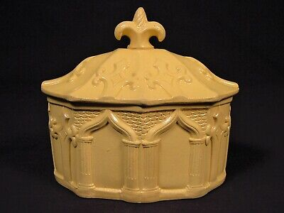 EXTREMELY RARE 1800s GOTHIC ARCH SUGAR BOWL with LID YELLOW WARE MINT