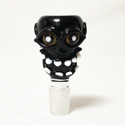 18mm Tiki Voodoo Skull Face Heady Black Glass Bong Bowl Slide