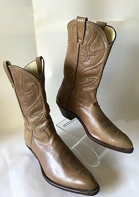 c55a5ef4b1f1e COWBOY BOOT HANDMADE Stewart Co USA Brown Whiskey Leather VTG Men ...