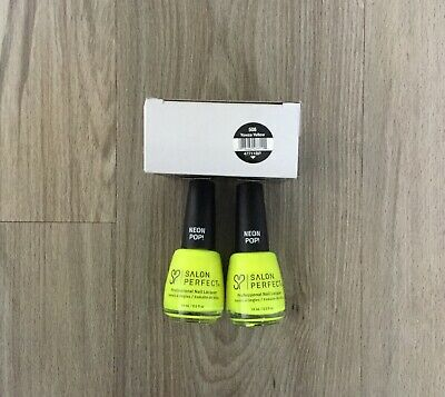 Salon Perfect Professional Nail Polish NEON POP YOWZA YELLOW  #508 2 Pack
