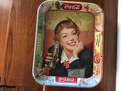 1950s Coca Cola Menu Girl Advertiseing Serving Tray Excellent