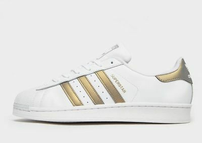 best website 32d85 89000 Adidas Originals Superstar Shell Toe White Leather   Iridescent Gold (UK 9)  BNIB
