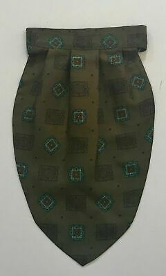TOOTAL Mens Vintage Khaki & Multi Colour Print Pre-Tied Adjustable Cravat/Ascot