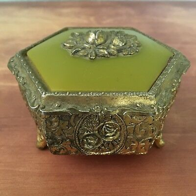 Antique JAPAN Metal Miniature Jewelry Trinket Box Golden w/ Green Inlay ROSES
