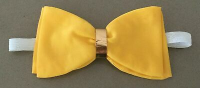 VINTAGE Handmade Mens Yellow Large Butterfly Bow Tie w Hook & Eye Closure