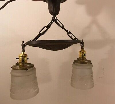 Antique 2 Light Brass and Frosted Glass Shade Ceiling Fixture Victorian
