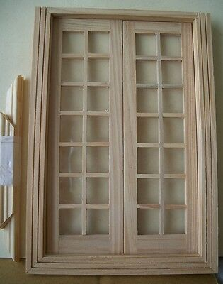 Doll House Wooden Double French Doors- 1:12th